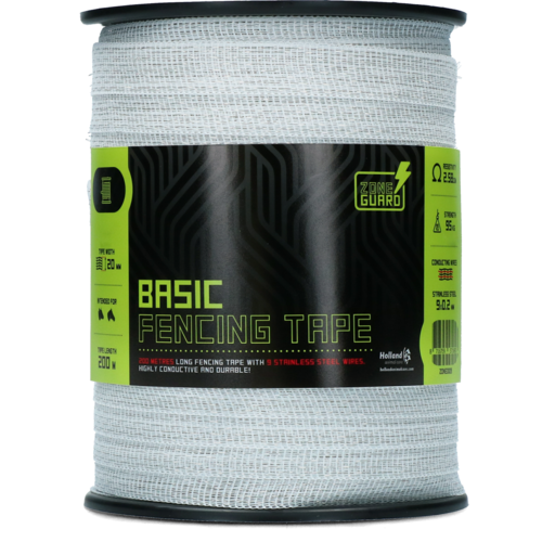 ZoneGuard 20 mm Basic fencing tape white 200 m (9 wires)