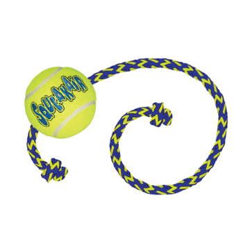 Kong Air Squeaker Tennis Ball  M 6 cm with rope 52 cm