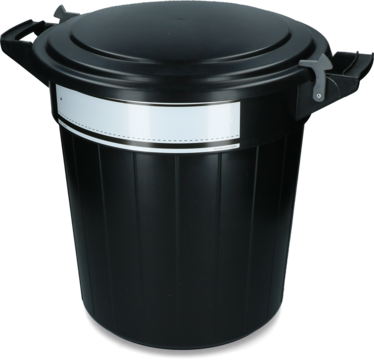 Storage bucket 40 l black, lid, lock and writing label