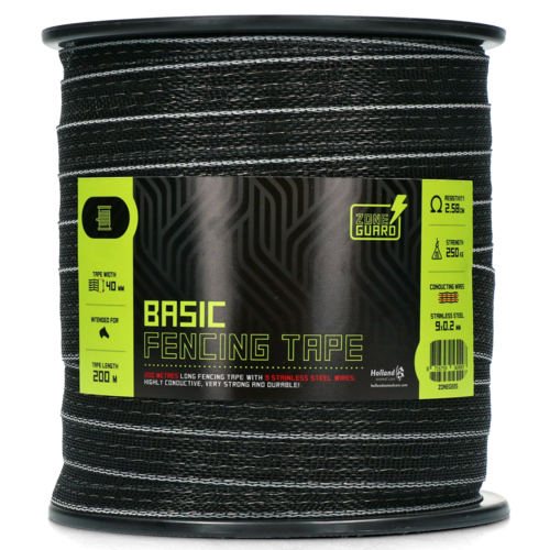 ZoneGuard Basic fencing tape black 200 m